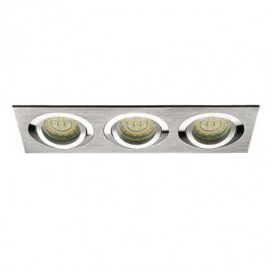 Support spot triple rectangulaire - Encastrable orientable - gris | Led-Flash