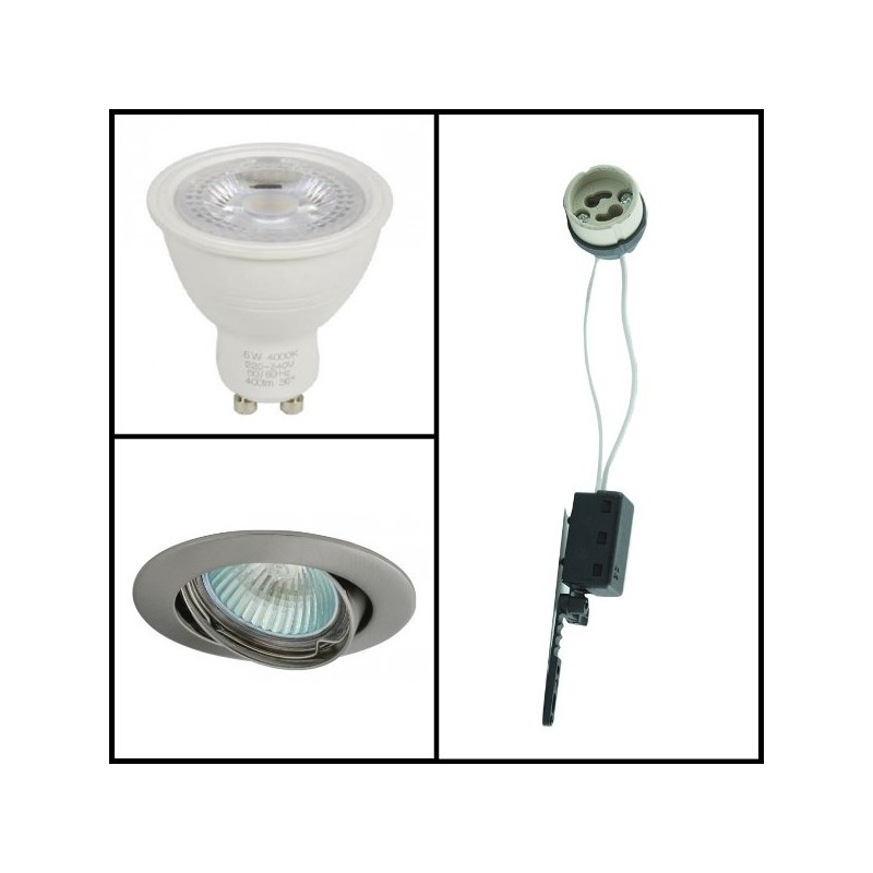 kit spot led gu10 4 5w support gris achat kit spot led gu10. Black Bedroom Furniture Sets. Home Design Ideas