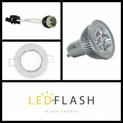 Kit Spot LED GU10 4W dimmable | Led Flash