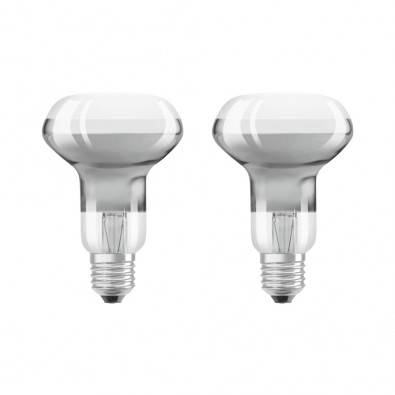 Lot de 2 Spots LED E27 R63 verre clair 4 watt (eq. 30W) blanc chaud