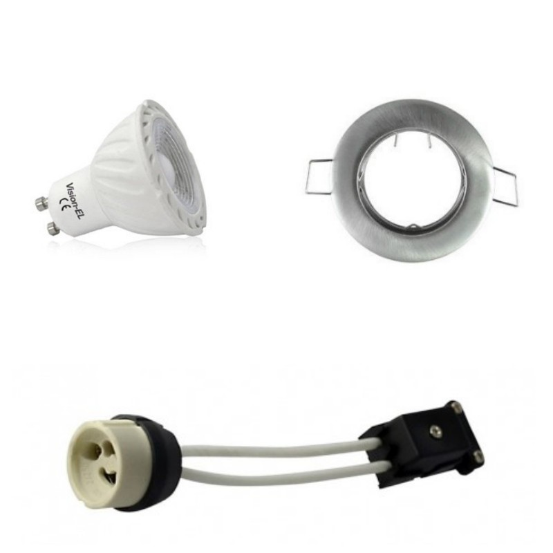 kit spot led gu10 cob 5 watt eq 50 watt dimmable support gris. Black Bedroom Furniture Sets. Home Design Ideas